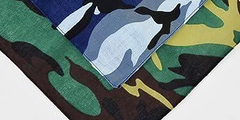 details of blue green camo bandana scarf