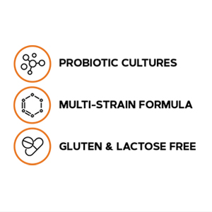 A multi-strain, gluten free and lactose free formula with probiotic cultures.