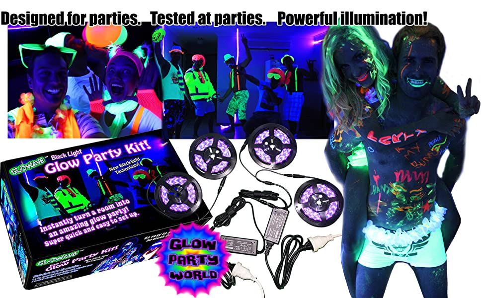 Black lights for parties. Glow in the dark neon costumes paints and pens