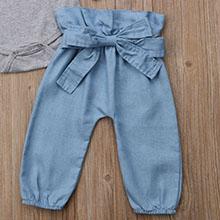 High waist pants with elastic waist and cute bow