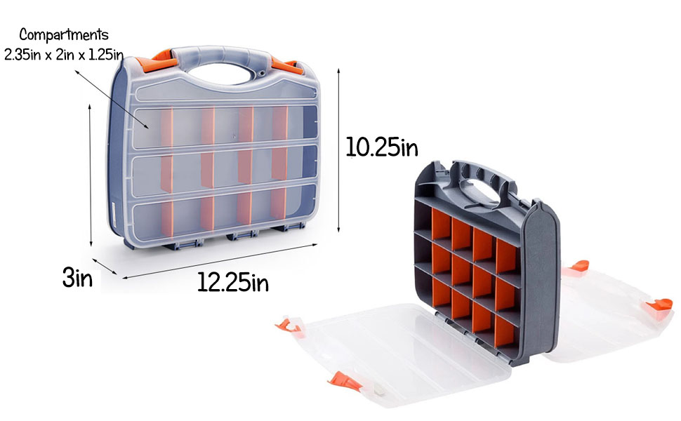 Double Sided Craft Sewing Parts Hardware Electronics Portable Plastic Carrying Case Box