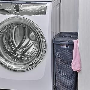 wicker laundry hamper space saver