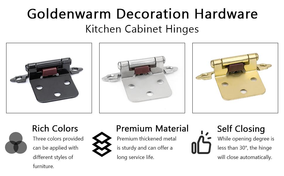 goldenwarm Black Kitchen Cabinet Hinges Overlay SCH30BK Black Hinges for Kitchen Cabinets Soft-Close Cabinet Hinges Furniture Hardware 1 Pair