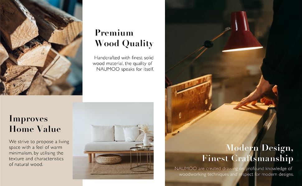 NAUMOO Wooden Home Decor, Premium Wood Quality, Modern & Minimalist, Handcrafted, Home Inspiration