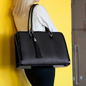 Black Leather Laptop Bag for women