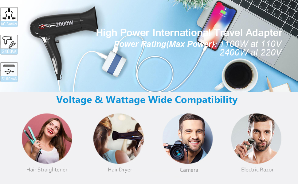 high power travel adapter