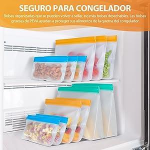 Newdora Bolsas de Silicona Reutilizables 12 Pack, Bolsas Congelar ...