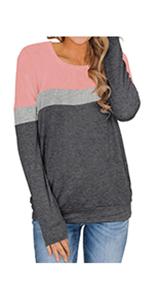 Long Sleeve Color Block Sweatshirts with Pocket