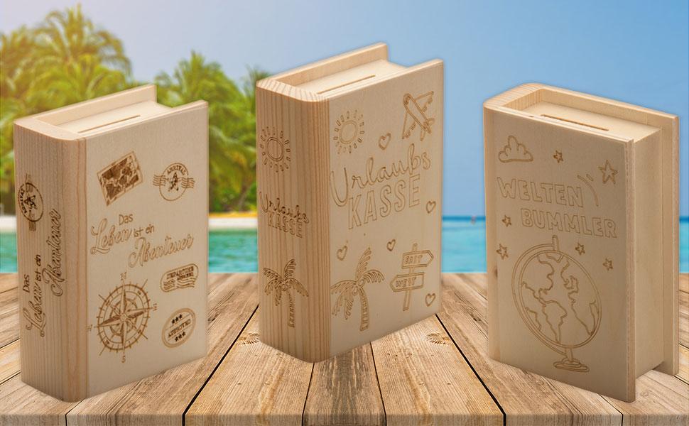 Spruchreif PREMIUM QUALIT/ÄT 100/% EMOTIONAL /· Spardose Buch aus Holz mit Gravur zur Taufe /· Motiv Taube /· Sparb/üchse f/ür Jungen und M/ädchen /· Taufgeschenk