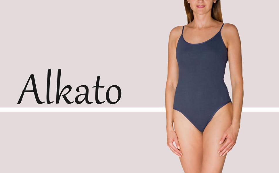 Alkato Womens Bodysuit Short Sleeve Top with Round Neckline