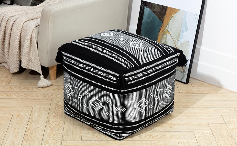boho unstuffed pouf cover ottoman foot stool extra seat bean bag cube rest handmade black