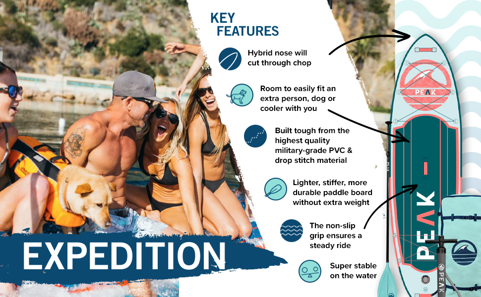Peak expedition key features military-grade pvc lighter stiffer more durable paddle board