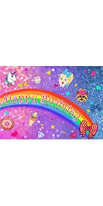 Photography Backdrops Rainbow Unicorn Toddler Glittler Bokeh  Photo Vinyl 5x3ft