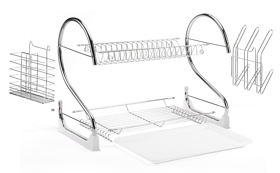 Glotoch 2 Tier Dish Rack with Utensil Holder, Cup Holder and Dish Drainer for Kitchen Counter Top