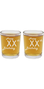personalized etched shot glasses, set of two with custom age and Happy Birthday text