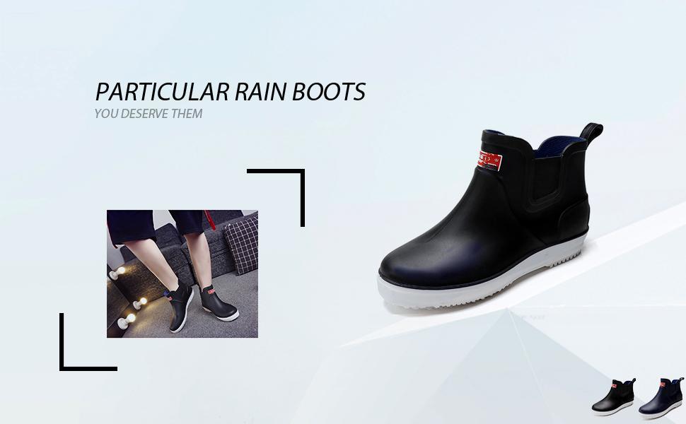fereshte Mens Nonslip Waterproof Shoes Short Ankle Rain Boots