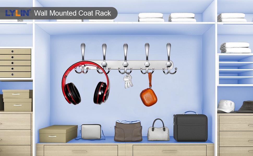 Garderobe haken haak rack jas haken muur haken garderobe rack roestvrij staal muur kapstok zilver
