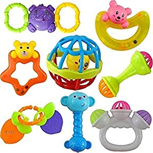 Cable World® Colourful Plastic Non Toxic Set of 8 Attractive Rattle for New Borns
