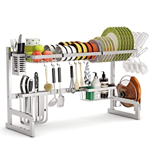 Adjustable Stainless Steel-Silver Over The Sink Dish Rack, Ace Teah Large Dish Drying Rack