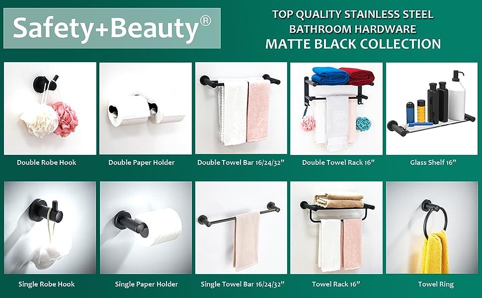 Matte black stainless steel bathroom accessories