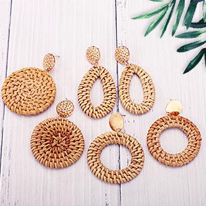 Rattan Earrings Lightweight Geometric Statement Woven Bohemian Earrings Handmade Straw Wicker Braid