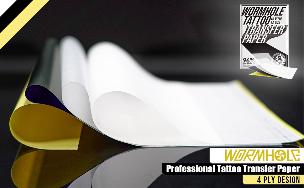 Wormhole Tattoo Transfer Paper 50 Sheets 4 layers Stencil Transfer Paper 12.2 X 8.6 Professional Tattoo Paper Thermal Stencil Paper for Tattooing