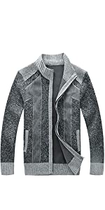 Men's Slim Fit Zip Up Casual Knitted Cardigan Sweaters with Pockets