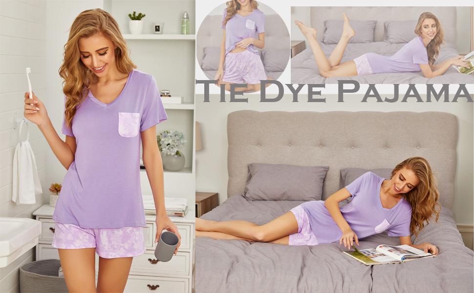 women Pajamas summer shorts Set short sleeve soft comfy sleepwear pj set Hotouch