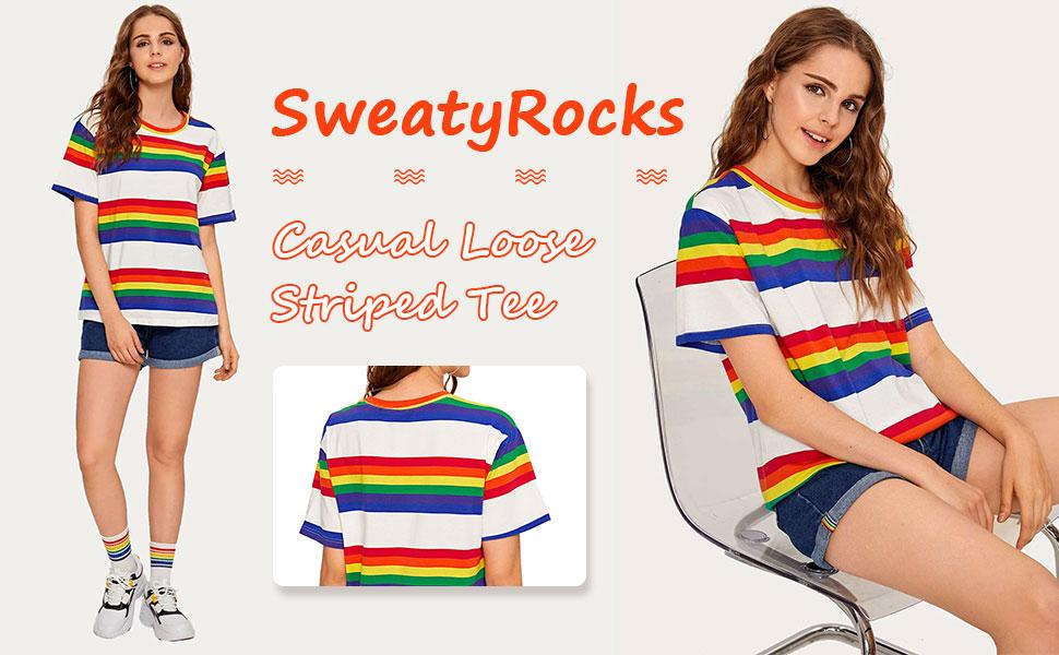 casual loose rainbow striped tee shirt