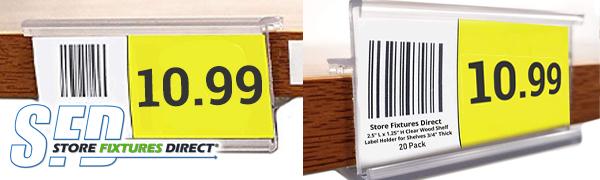 wood shelf label holder