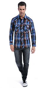 Men's Snap Button Long Sleeve Shirt