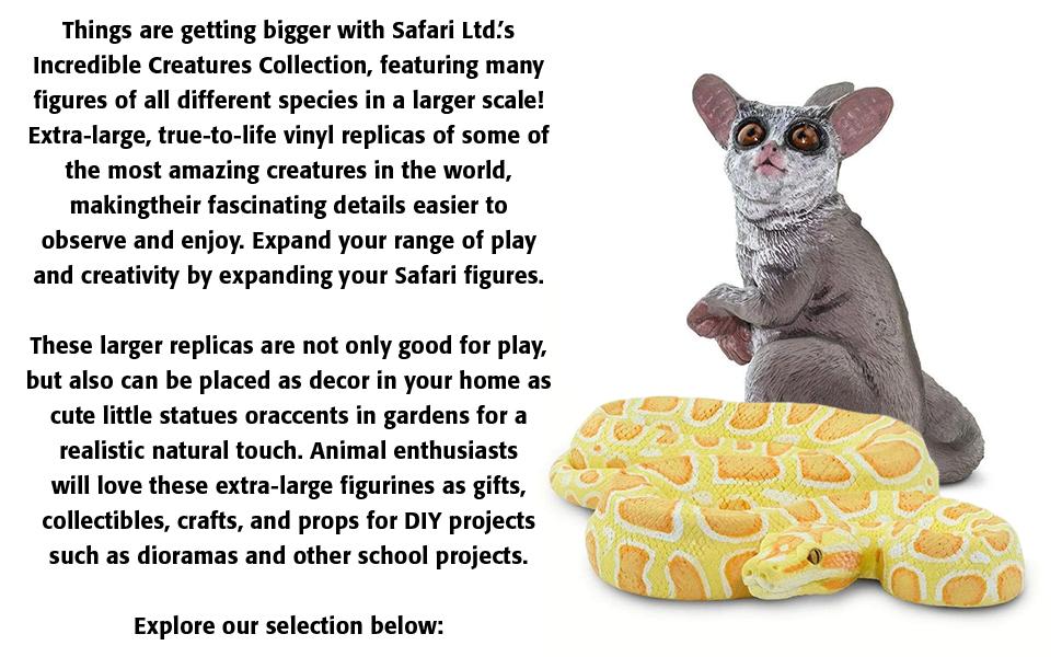 large, extra, safari, figures, snake, boa, toys, models, statues, decor, bush baby, animals