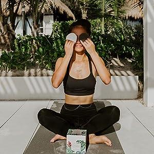 Makeup reusable pads while doing yoga