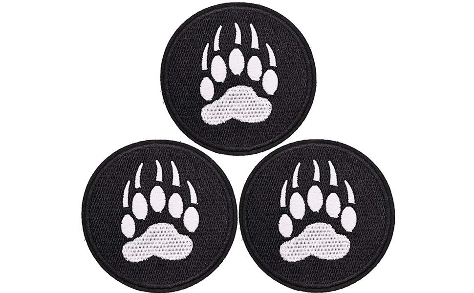 Half inch Lot of 4 Grey Red Dog Animal Paw Print Patch