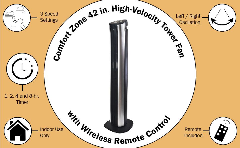 Comfort Zone, Black Fan, Standing Fan, Tower Fan, Oscillating tower fan