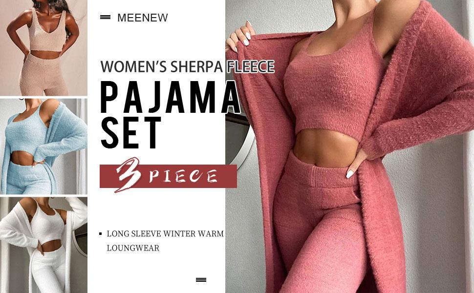 Meenew Women's 3 Piece Outfits Fuzzy Lounge Set Winter Sherpa Fleece Pajama Set…