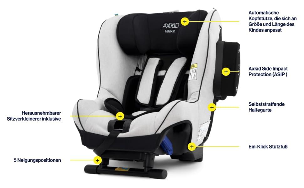 Axkid Minikid 2 Rearward Facing Child Car Seat 0 25 Kg Reboarder Car Seat Premium Granite Melange Baby