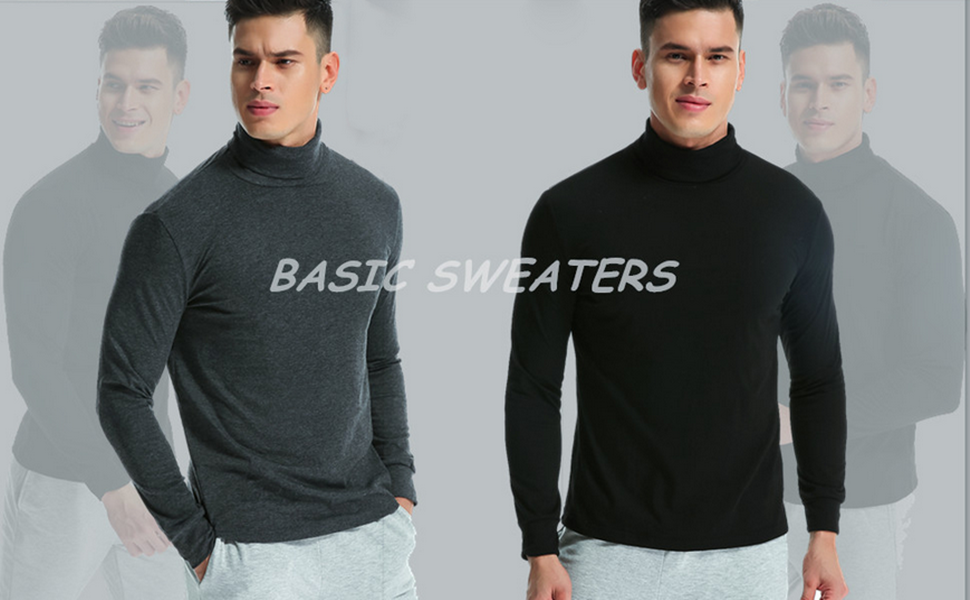 MODCHOK Mens Turtleneck Polo Roll Neck Tops Jumper T Shirt Long Sleeve Thermal Pullover