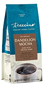 Teeccino Dandelion Mocha Herbal Coffee is a gluten free coffee alternative made with dandelion