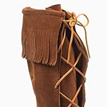mocc moccasin native outdoor pant rubber size skin soft sole suede teen tie up wide width women work