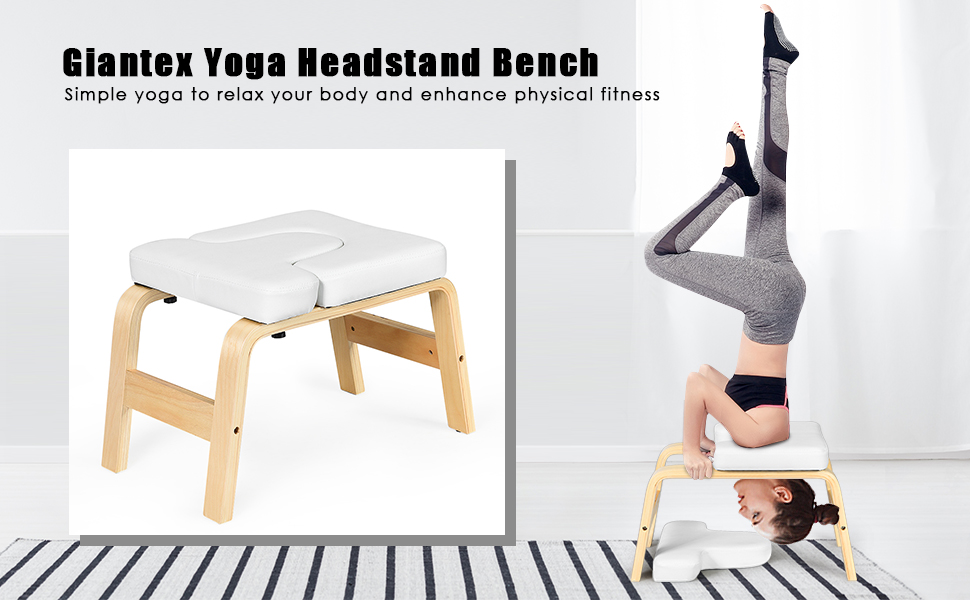 Giantex Yoga Headstand Bench w/VC Pads, Yoga Inversion Chair, Sturdy Wood Frame, Yoga Inversion Trainer, Relieve Fatigue and Shape Body, Idea for ...