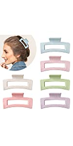 Macaroon Color Hair Claw Clips Strong Hold Rectangle Hair Claw