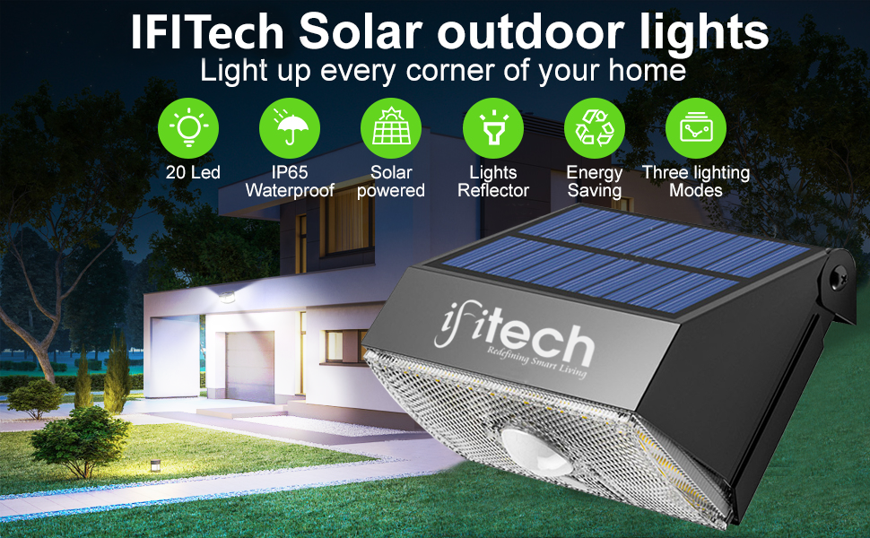 IFITech Solar Light, Solar Wall Light,Rechargeable LED Light, Waterproof Outdoor Light,Garden Light,
