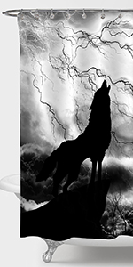 Solitary Wolf with Full Moon Shower Curtain