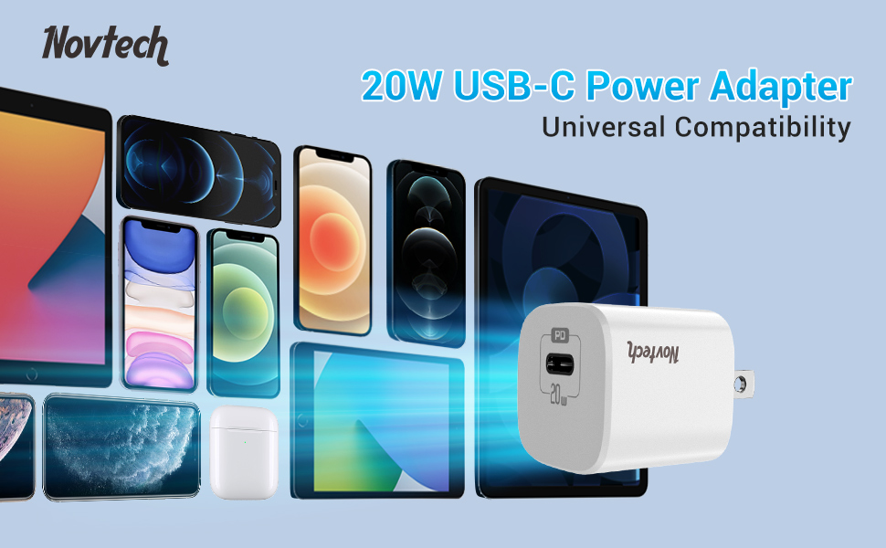 20W USB type C power delivery wall charger plug