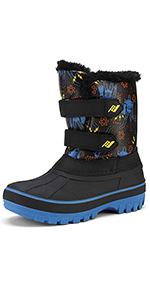 winter snow boots black green for kids