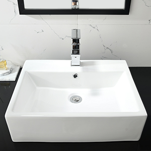 white vessel sink