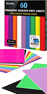 kassa permanent adhesive vinyl sheets multi color for indoor outdoor projects craft designs pack