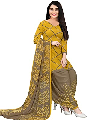 Rajnandini Women's Yellow Cotton Printed Unstitched Salwar Suit Material