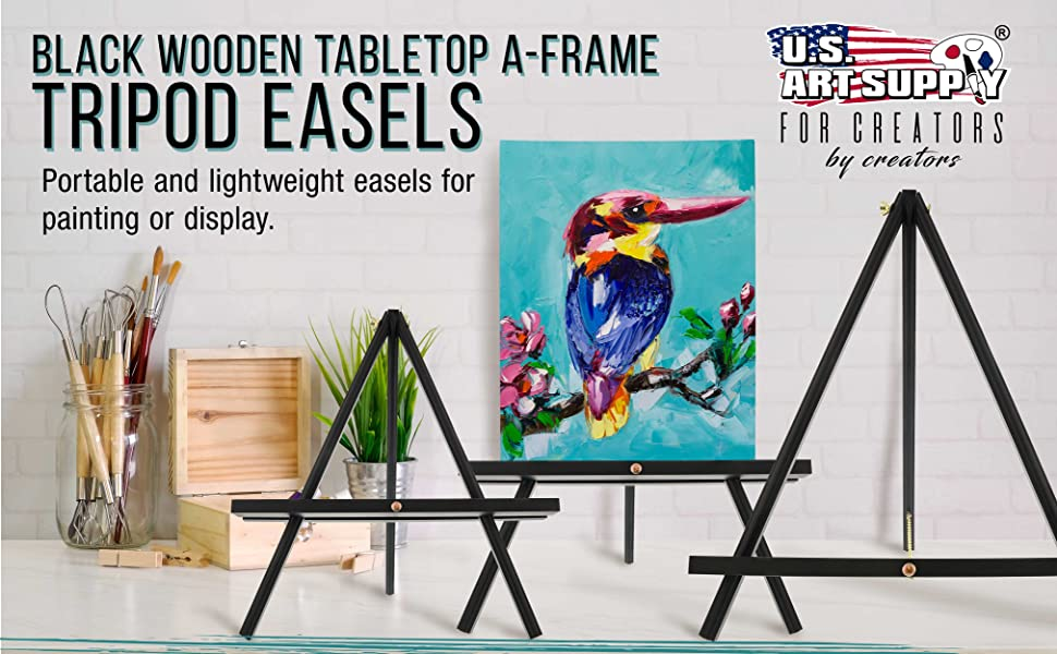 US Art Supply Wooden Tabletop A-Frame Tripod Easels Portable and Lightweight Easels for Painting